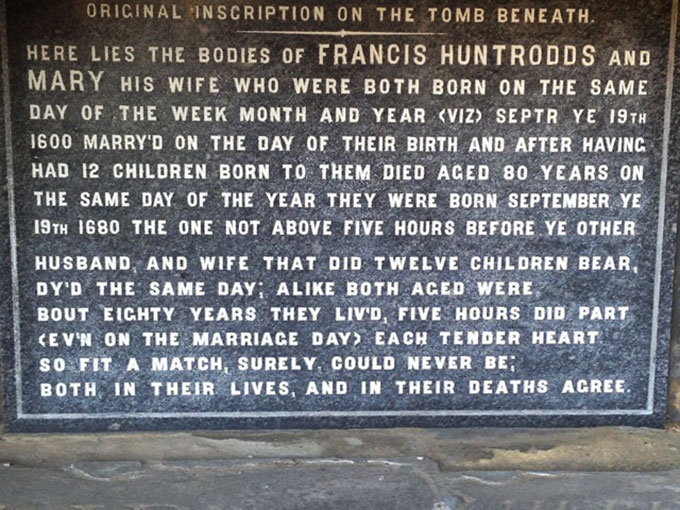 a photo of the tombstone of Francis and Mary Huntrodds