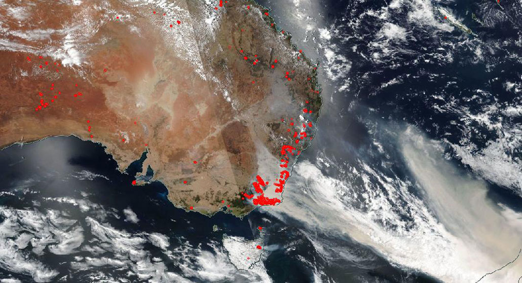 a satellite image of wildfire smoke from Australia streaming across the Pacific Ocean