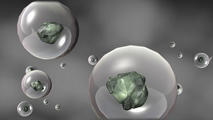 an illustration of salt partciles inside water droplets