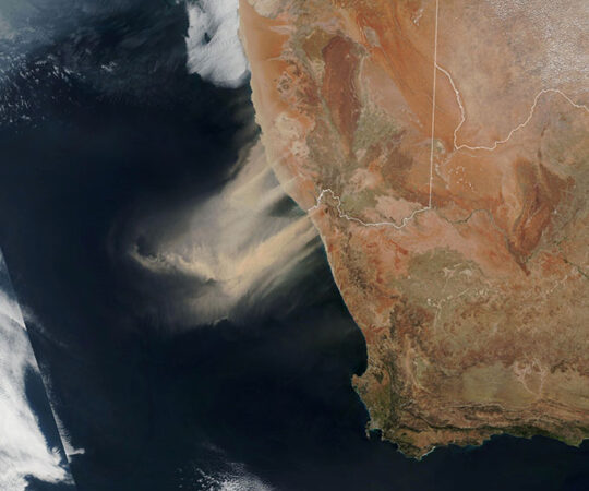 a satelliote image of a dust storm