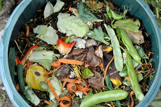 a bucket of compost