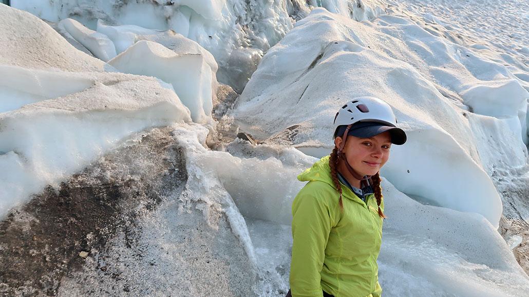 a photo of Ellery on the Dana Glacier