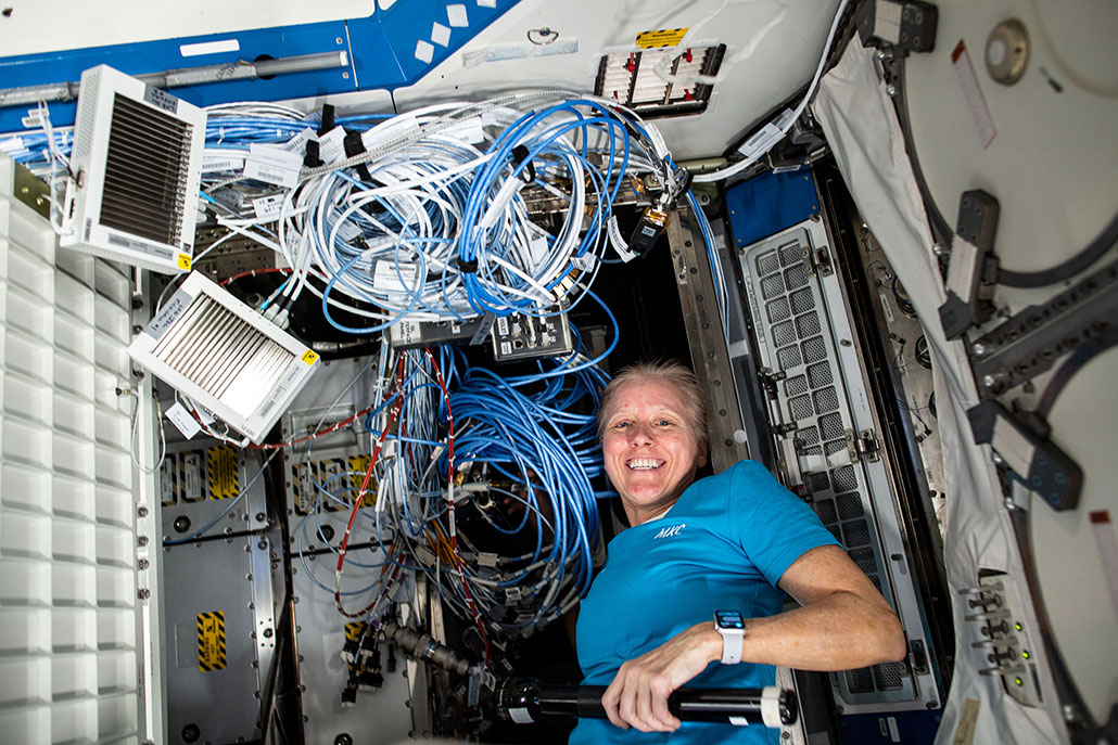 an astronaut on the ISS