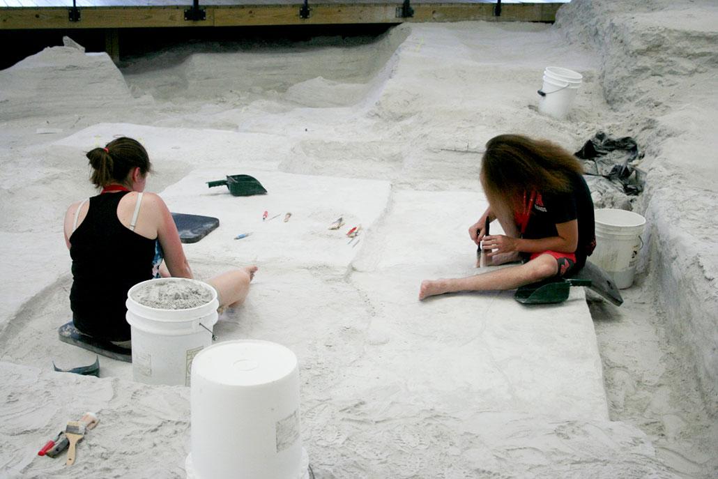 two interns brushing ash from algae fossils