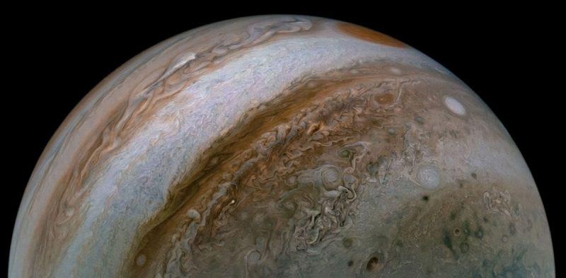 an image of half of Jupiter