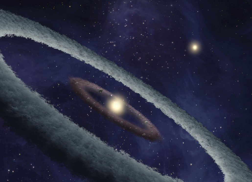 an illustration of a binary star planet surrounded by a brown ring of pebbles