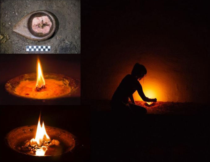 Right: researcher lighting stone lamp in dark cave. Left, from top down: three photos showing lamp at various stages of burning