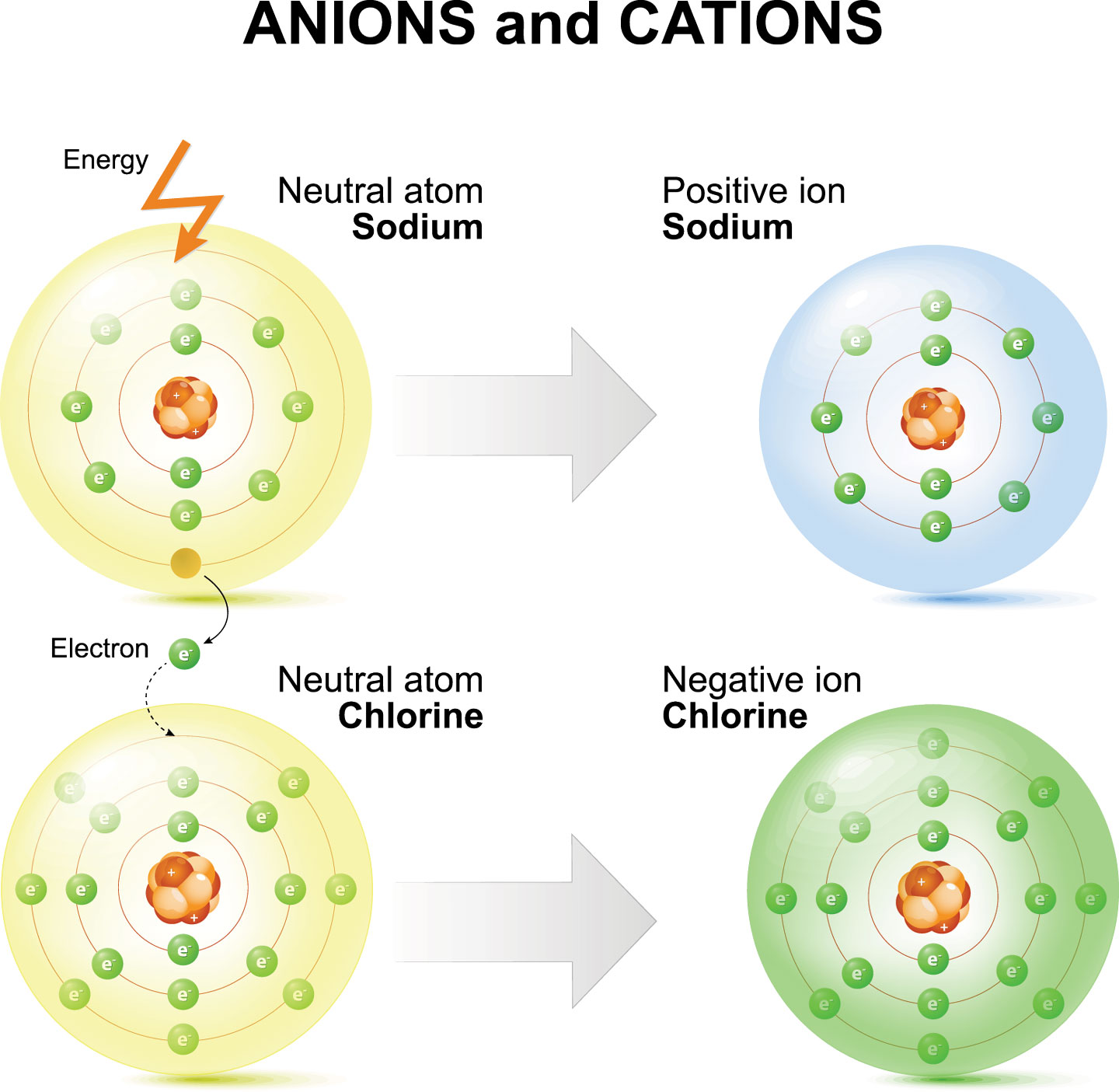 illustration shows how sodium and chlorine atoms become ions