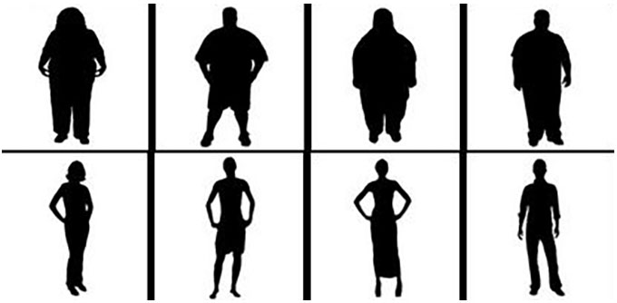two rows of silhouettes, the top is larger people, the bottom is slimmer people