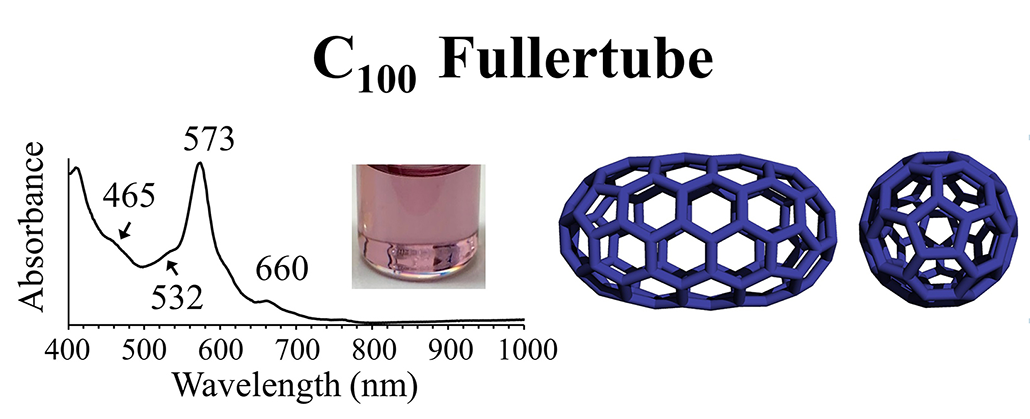 an image showing a spectrograph for a glass cylinder and models of the carbon structure