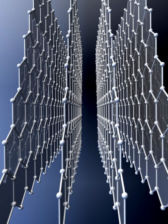 An illustration of carbon atoms connecting to each other to create four tall sheets side by side